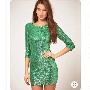 ASOS TFNC Green Sequin Long Sleeve Bodycon Dress